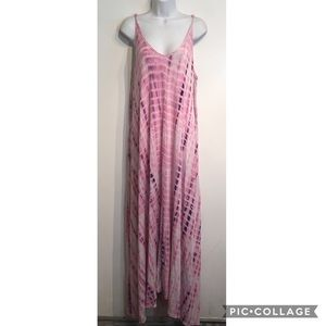 Pink Tie Dye Oversized Maxi Dress With Pockets